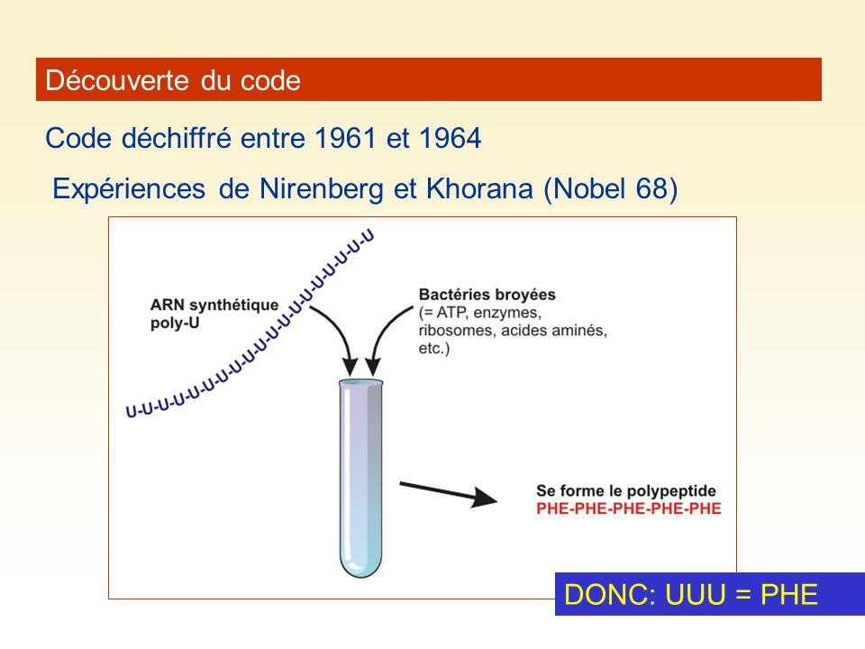 Découverte du code Code déchiffré entre 1961 et 1964 Expériences de Nirenberg et Khorana (Nobel 68) DONC: UUU = PHE