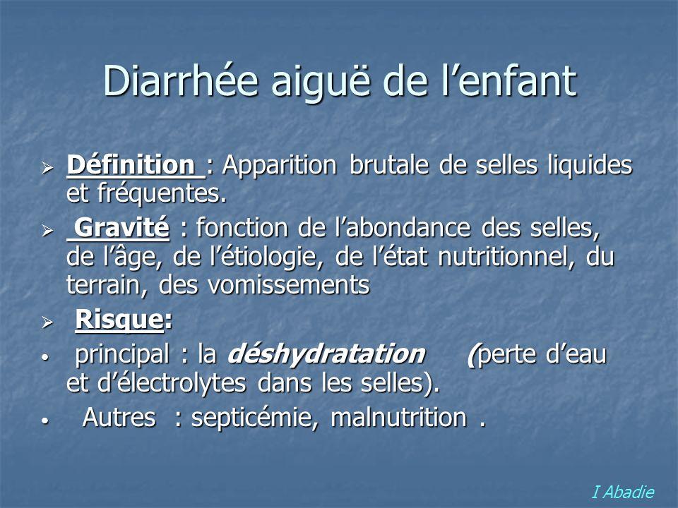Epidémiologie de la diarrhée aiguë en France Morbidité et mortalité encore importante en France Morbidité et mortalité encore importante en France 45 à 80 DC / an chez les enfants de moins de 5 ans 45 à 80 DC / an chez les enfants de moins de 5 ans I Abadie