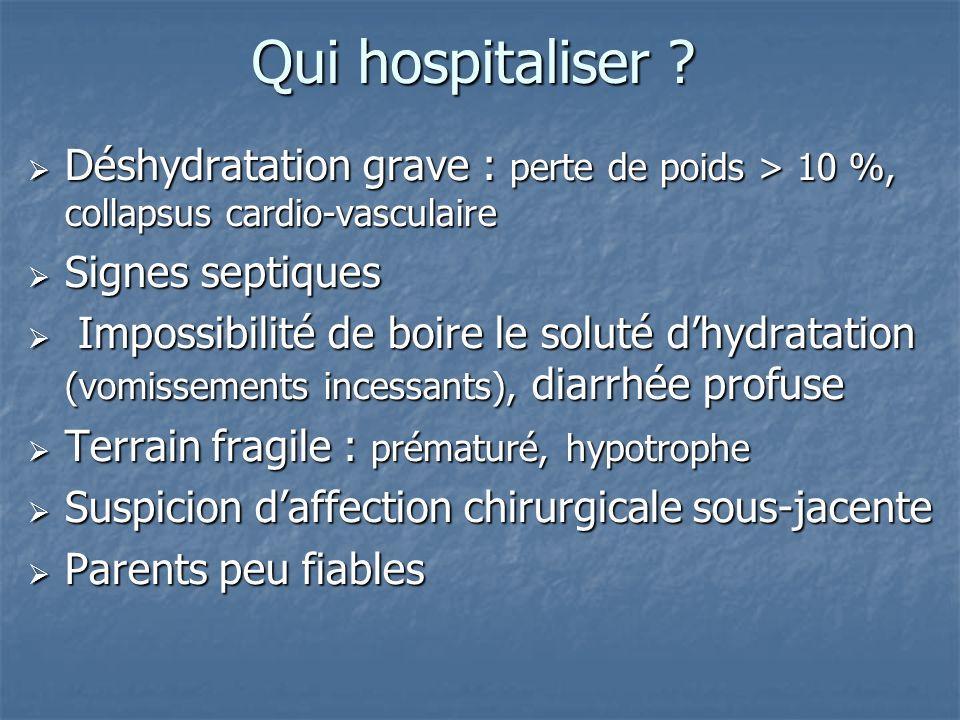 Qui hospitaliser ? Déshydratation grave : perte de poids > 10 %, collapsus cardio-vasculaire Déshydratation grave : perte de poids > 10 %, collapsus c