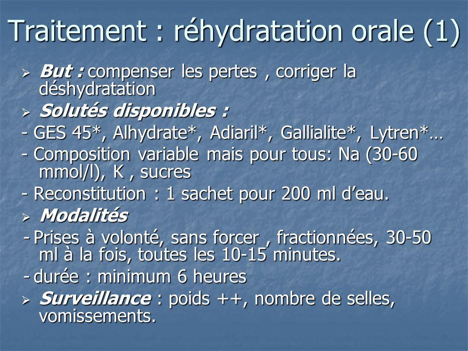 Traitement : réhydratation orale (1) But : compenser les pertes, corriger la déshydratation But : compenser les pertes, corriger la déshydratation Sol