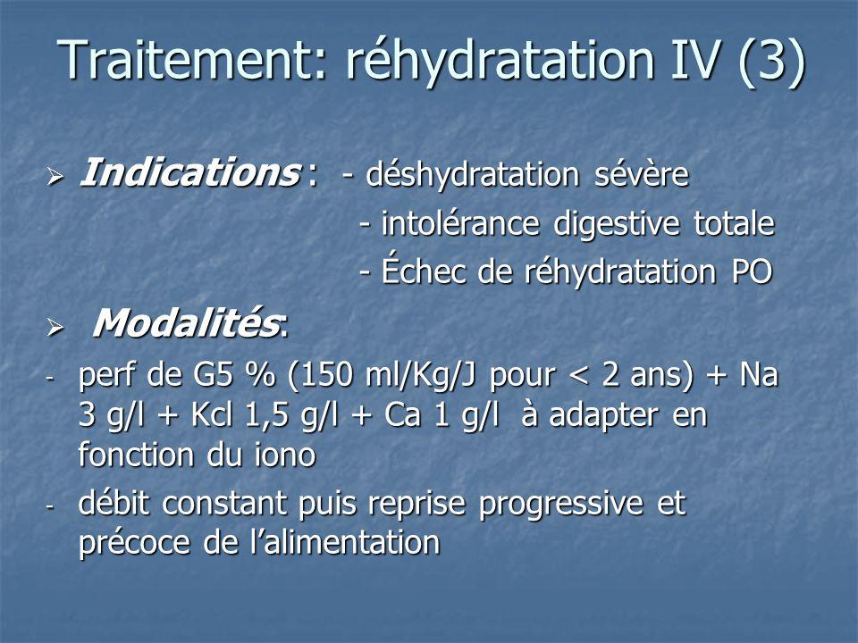 Traitement: réhydratation IV (3) Indications : - déshydratation sévère Indications : - déshydratation sévère - intolérance digestive totale - intoléra