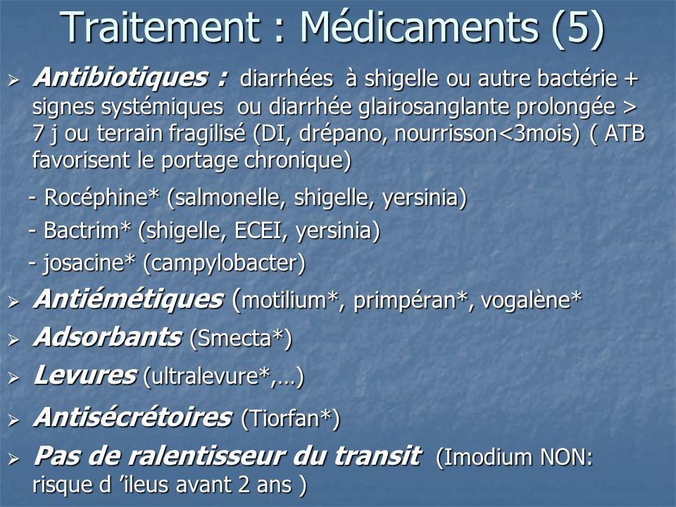 Traitement : Médicaments (5) Antibiotiques : diarrhées à shigelle ou autre bactérie + signes systémiques ou diarrhée glairosanglante prolongée > 7 j o
