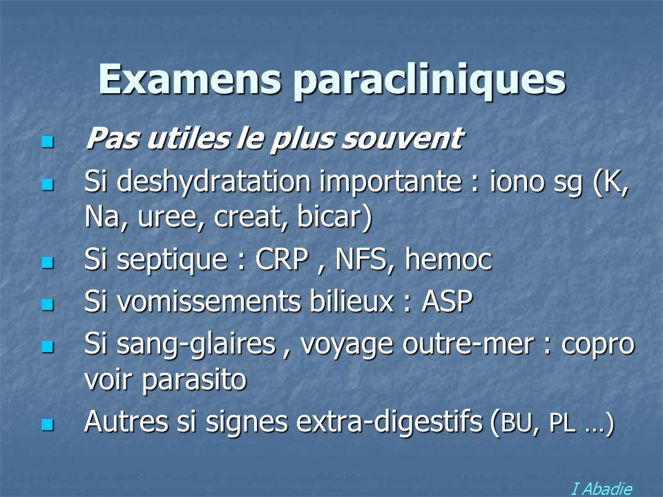 Examens paracliniques Pas utiles le plus souvent Pas utiles le plus souvent Si deshydratation importante : iono sg (K, Na, uree, creat, bicar) Si desh
