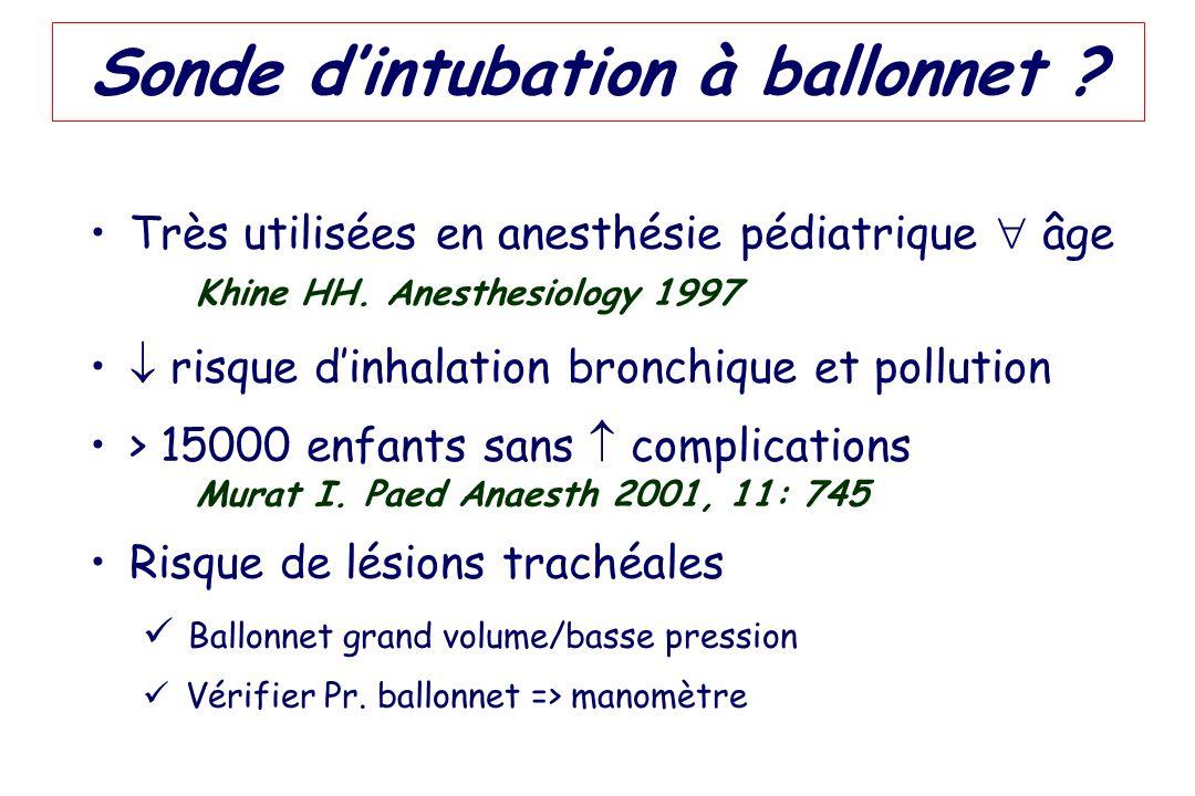 Sonde dintubation à ballonnet ? Très utilisées en anesthésie pédiatrique âge Khine HH. Anesthesiology 1997 risque dinhalation bronchique et pollution