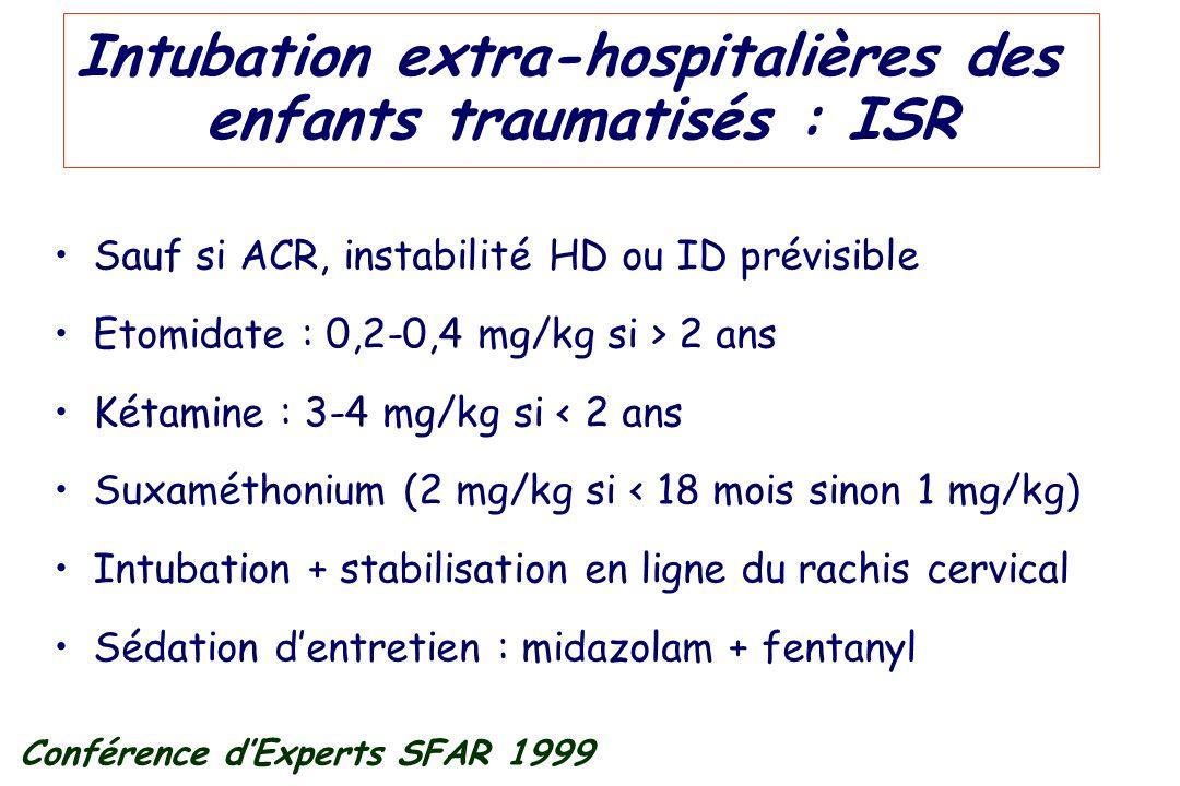 Intubation extra-hospitalières des enfants traumatisés : ISR Sauf si ACR, instabilité HD ou ID prévisible Etomidate : 0,2-0,4 mg/kg si > 2 ans Kétamin