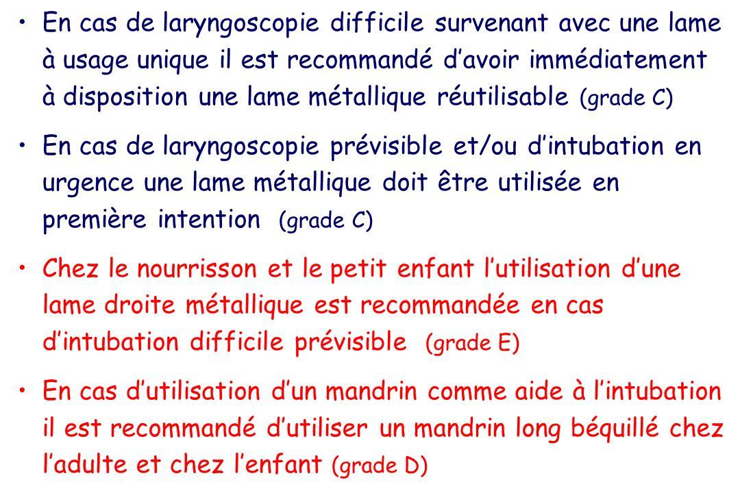 En cas de laryngoscopie difficile survenant avec une lame à usage unique il est recommandé davoir immédiatement à disposition une lame métallique réut