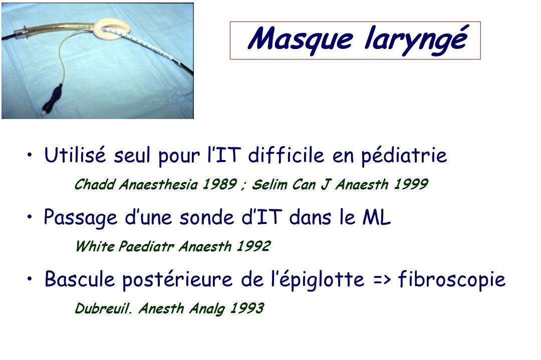 Utilisé seul pour lIT difficile en pédiatrie Chadd Anaesthesia 1989 ; Selim Can J Anaesth 1999 Passage dune sonde dIT dans le ML White Paediatr Anaest