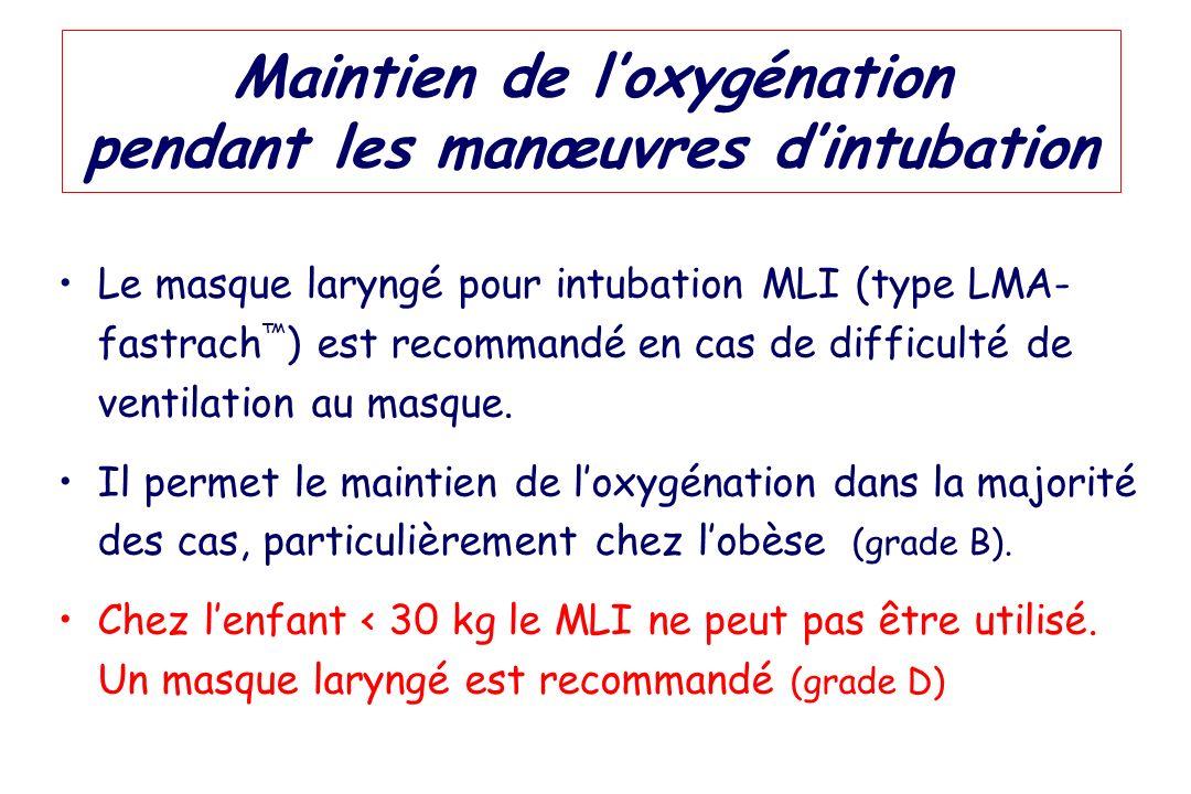 Maintien de loxygénation pendant les manœuvres dintubation Le masque laryngé pour intubation MLI (type LMA- fastrach ) est recommandé en cas de diffic