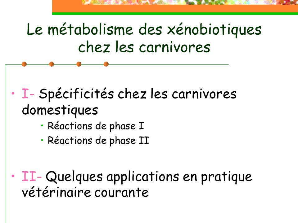 Le métabolisme des xénobiotiques chez les carnivores I- Spécificités chez les carnivores domestiques Réactions de phase I Réactions de phase II II- Quelques applications en pratique vétérinaire courante