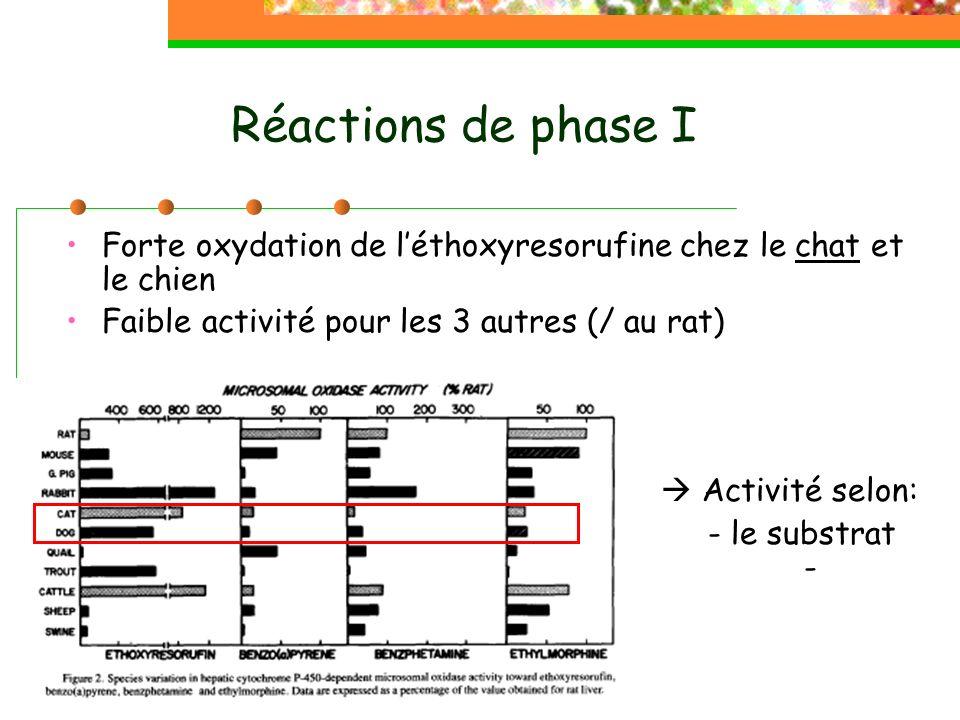Réactions de phase I Hydratation des époxydes Activité bien présente chez les carnivores: Beaucoup plus importante chez le chien que chez le chat