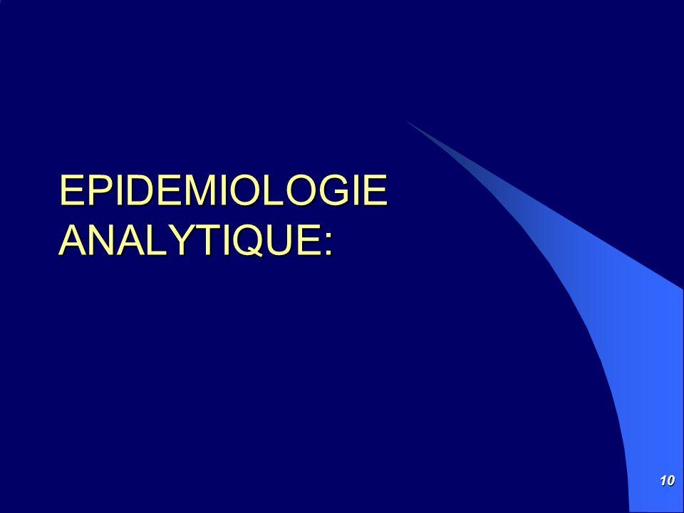 10 EPIDEMIOLOGIE ANALYTIQUE: