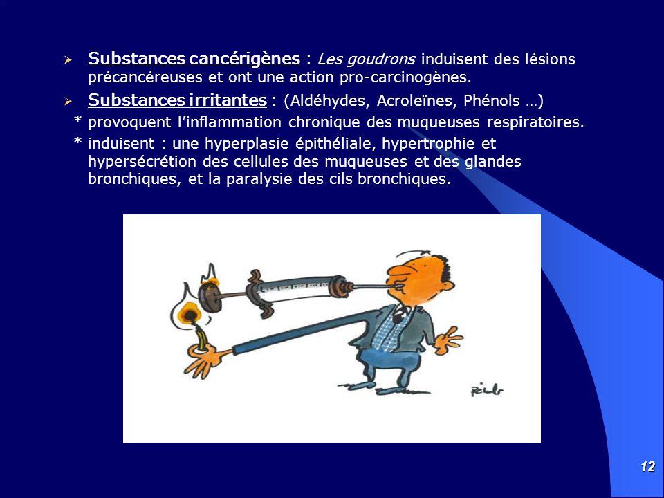 12 Substances cancérigènes : Les goudrons induisent des lésions précancéreuses et ont une action pro-carcinogènes. Substances irritantes : (Aldéhydes,