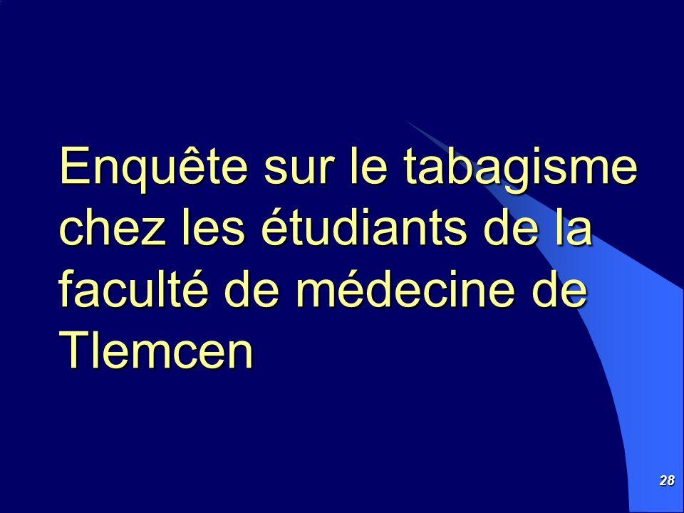 28 Enquête sur le tabagisme chez les étudiants de la faculté de médecine de Tlemcen