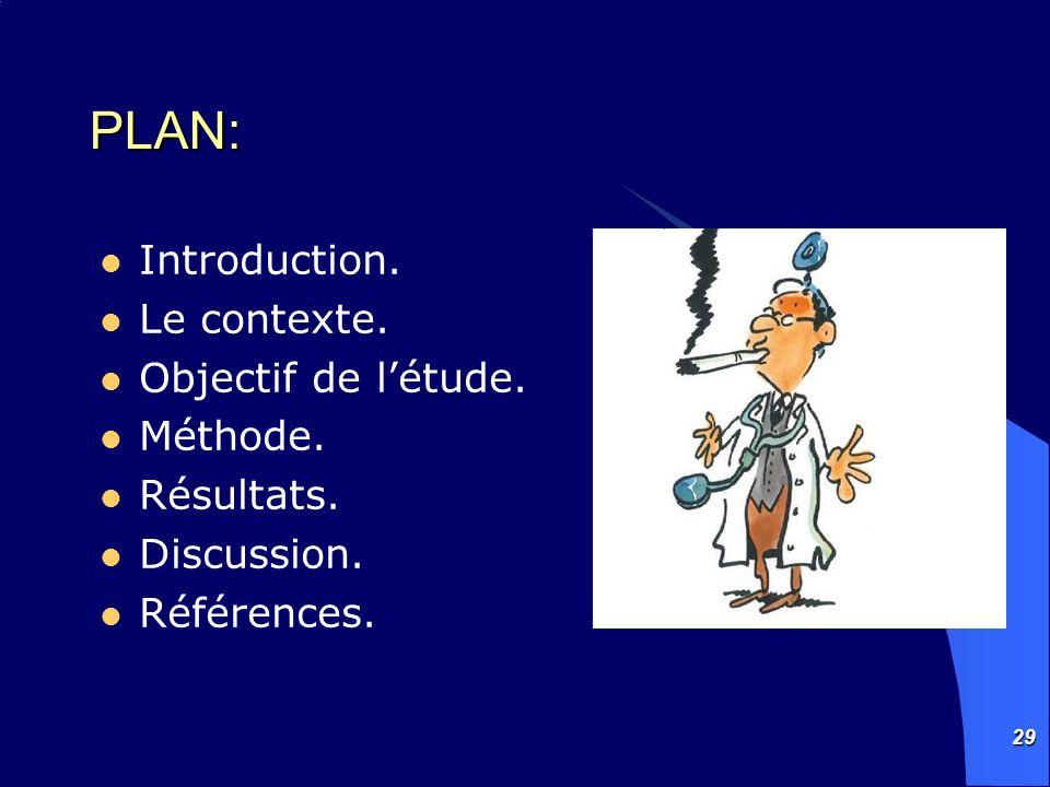29 PLAN: Introduction. Le contexte. Objectif de létude. Méthode. Résultats. Discussion. Références.