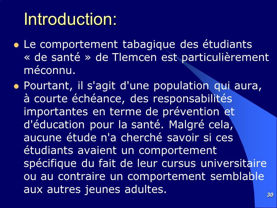 30 Introduction: Le comportement tabagique des étudiants « de santé » de Tlemcen est particulièrement méconnu. Pourtant, il s'agit d'une population qu
