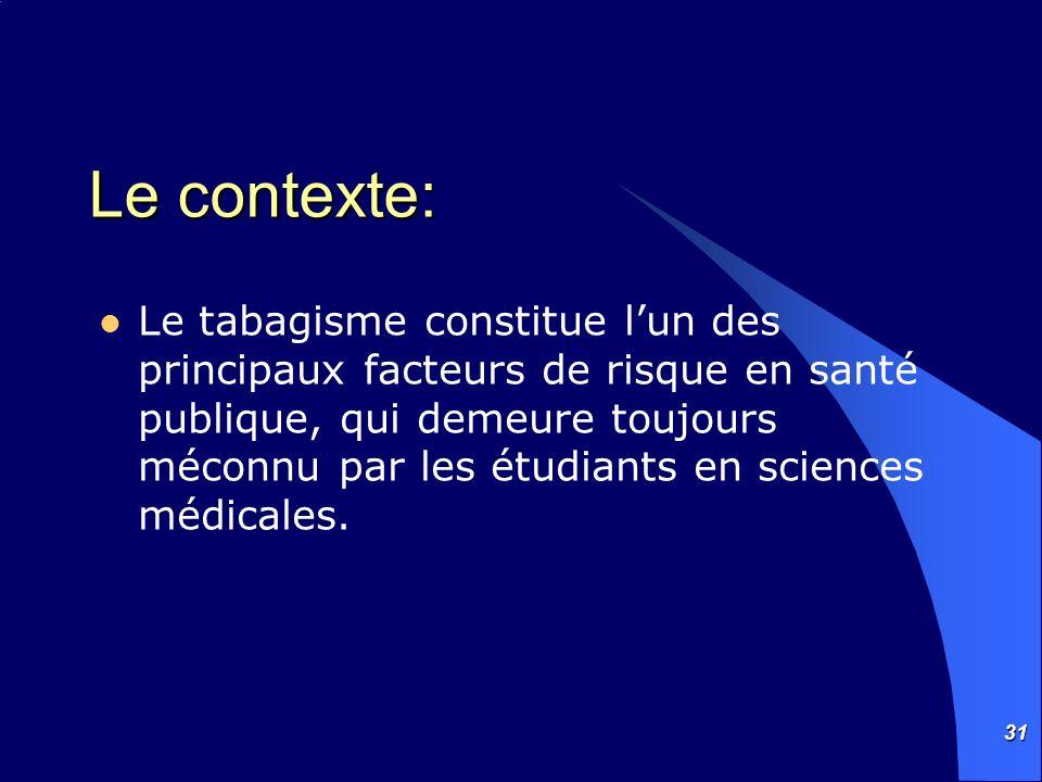 31 Le contexte: Le tabagisme constitue lun des principaux facteurs de risque en santé publique, qui demeure toujours méconnu par les étudiants en scie