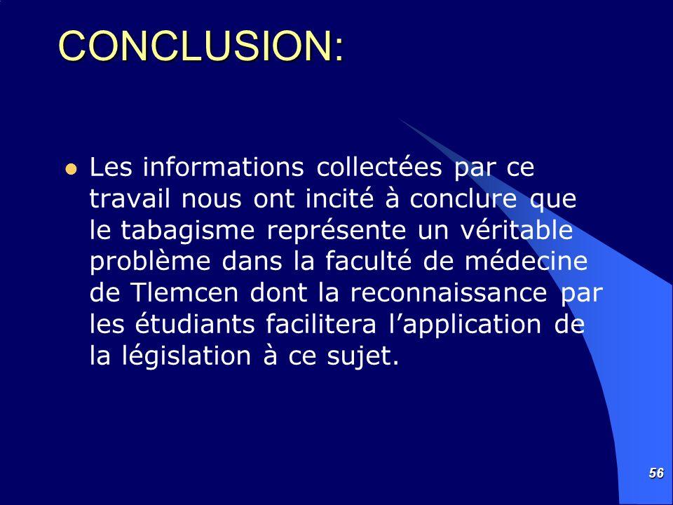 56 CONCLUSION: Les informations collectées par ce travail nous ont incité à conclure que le tabagisme représente un véritable problème dans la faculté