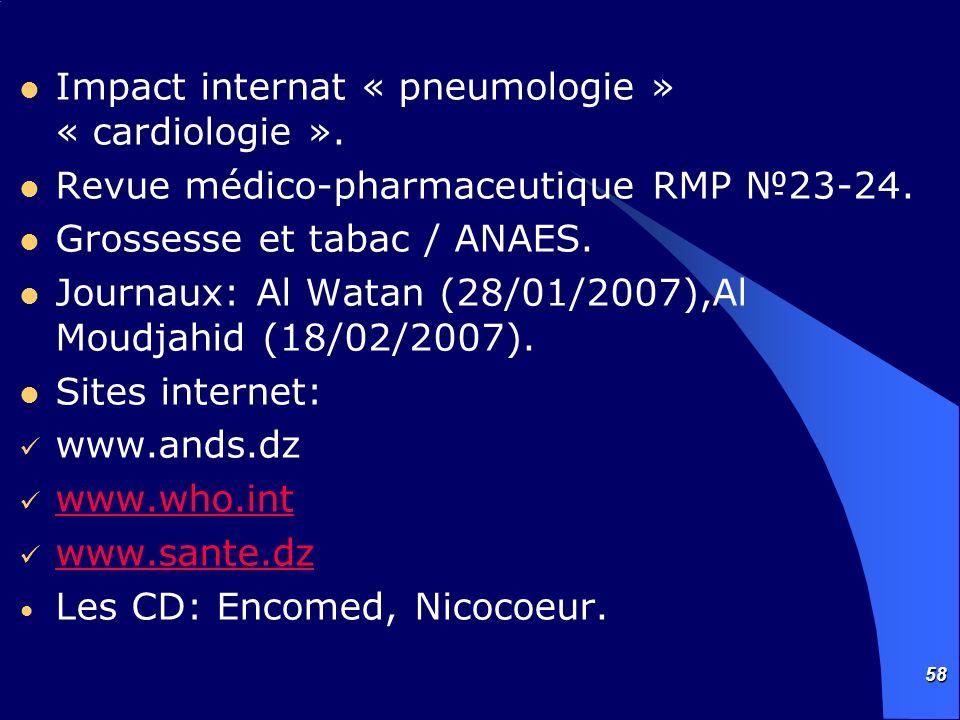 58 Impact internat « pneumologie » « cardiologie ». Revue médico-pharmaceutique RMP 23-24. Grossesse et tabac / ANAES. Journaux: Al Watan (28/01/2007)