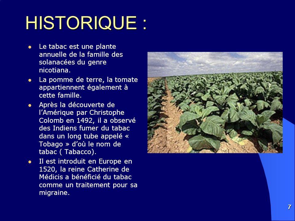 7 HISTORIQUE : Le tabac est une plante annuelle de la famille des solanacées du genre nicotiana. La pomme de terre, la tomate appartiennent également