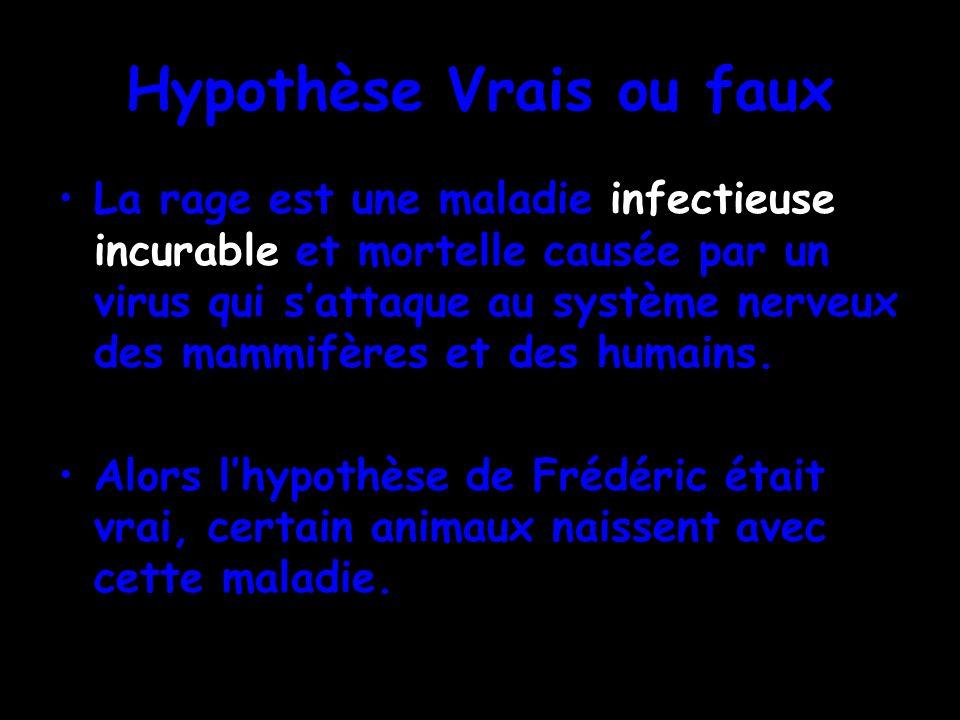Hypothèse Vrais ou faux La rage est une maladie infectieuse incurable et mortelle causée par un virus qui sattaque au système nerveux des mammifères e