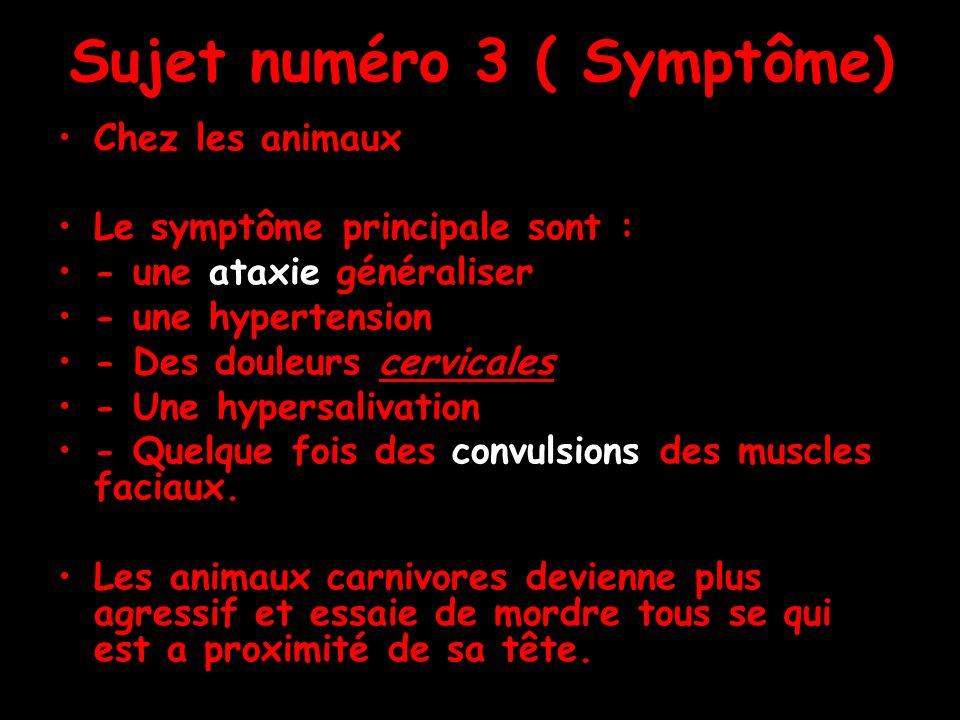 Sujet numéro 3 ( Symptôme) Chez les animaux Le symptôme principale sont : - une ataxie généraliser - une hypertension - Des douleurs cervicales - Une