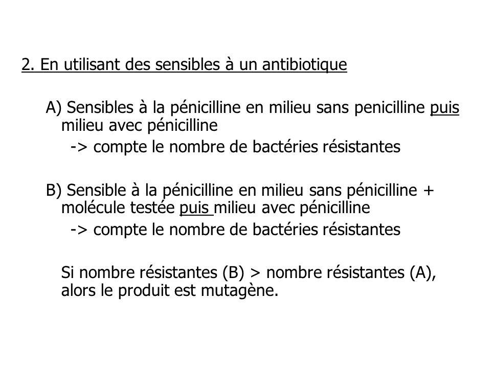 2. En utilisant des sensibles à un antibiotique A) Sensibles à la pénicilline en milieu sans penicilline puis milieu avec pénicilline -> compte le nom