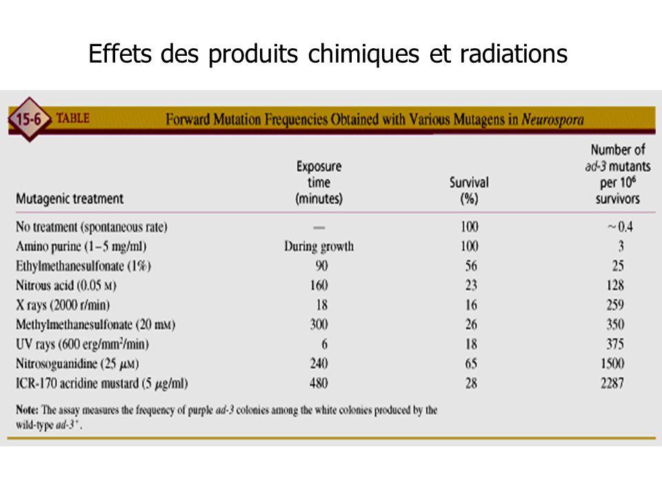 Effets des produits chimiques et radiations