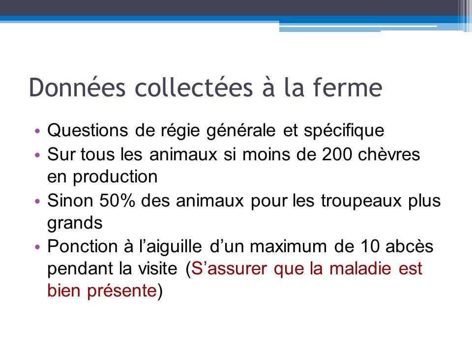 Données collectées à labattoir Voir limpact de la maladie dans la réforme et ou la classification des carcasses, le taux de parage des carcasses.