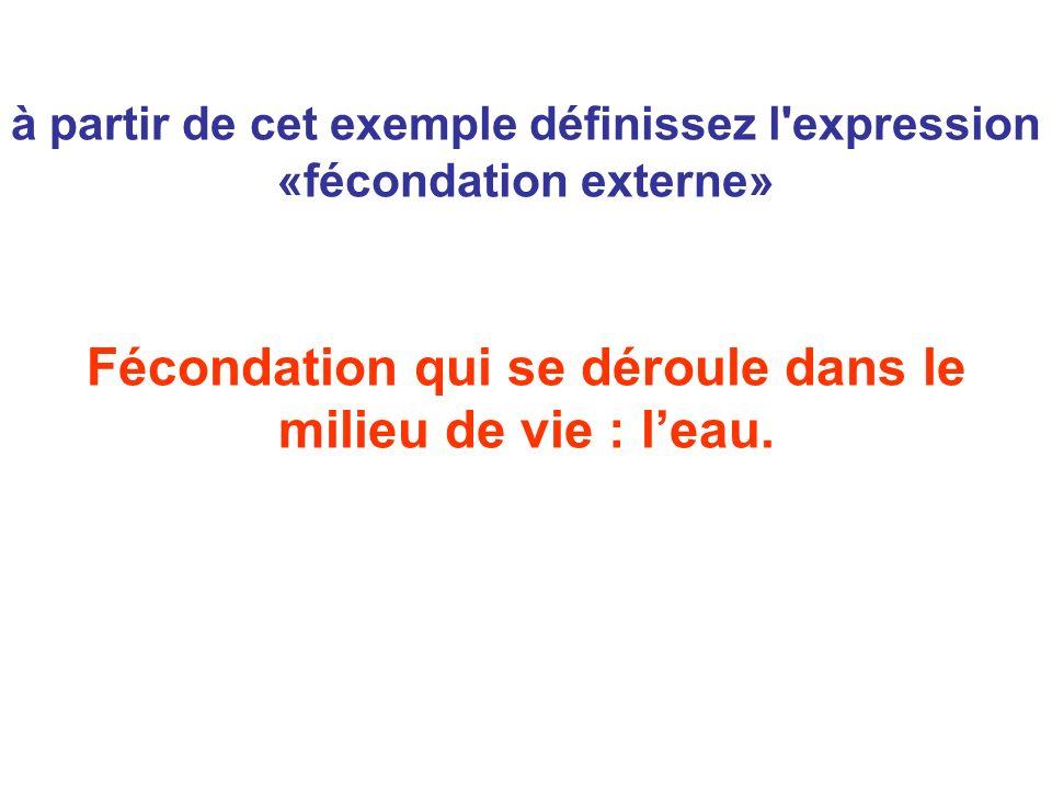 à partir de cet exemple définissez l'expression «fécondation externe» Fécondation qui se déroule dans le milieu de vie : leau.