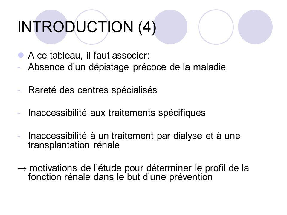 INTRODUCTION (4) A ce tableau, il faut associer: -Absence dun dépistage précoce de la maladie -Rareté des centres spécialisés -Inaccessibilité aux traitements spécifiques -Inaccessibilité à un traitement par dialyse et à une transplantation rénale motivations de létude pour déterminer le profil de la fonction rénale dans le but dune prévention