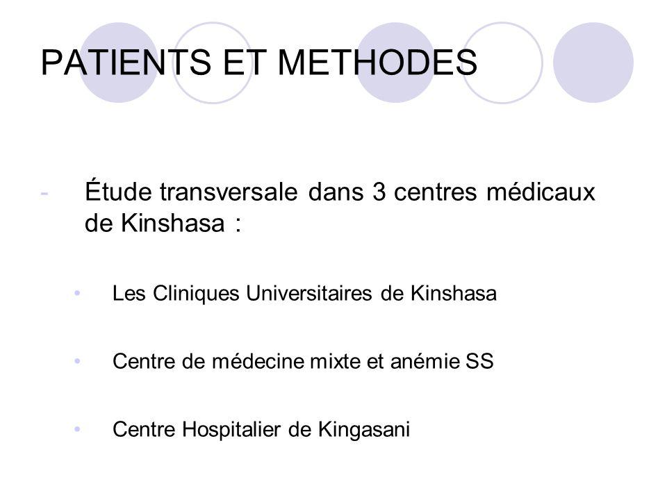 PATIENTS ET METHODES -Étude transversale dans 3 centres médicaux de Kinshasa : Les Cliniques Universitaires de Kinshasa Centre de médecine mixte et anémie SS Centre Hospitalier de Kingasani