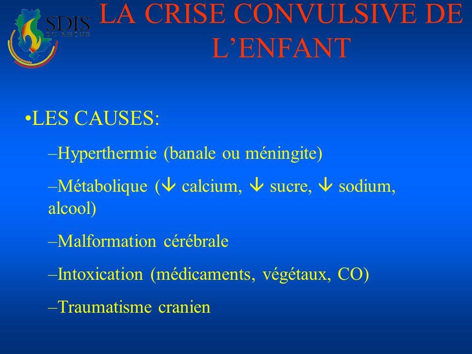 LA CRISE CONVULSIVE DE LENFANT LES CAUSES: –Hyperthermie (banale ou méningite) –Métabolique ( calcium, sucre, sodium, alcool) –Malformation cérébrale