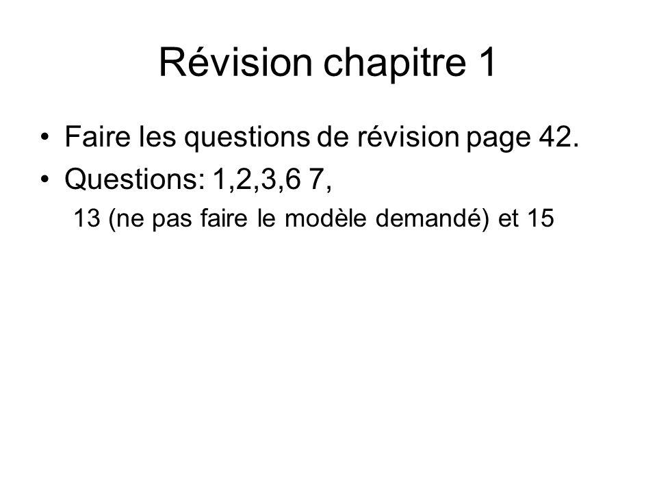 Révision chapitre 1 Faire les questions de révision page 42.