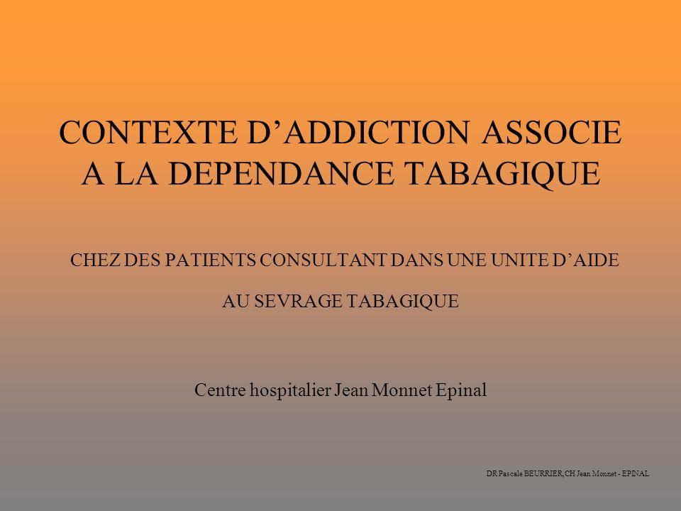 DR Pascale BEURRIER,CH Jean Monnet - EPINAL CONTEXTE DADDICTION ASSOCIE A LA DEPENDANCE TABAGIQUE CHEZ DES PATIENTS CONSULTANT DANS UNE UNITE DAIDE AU