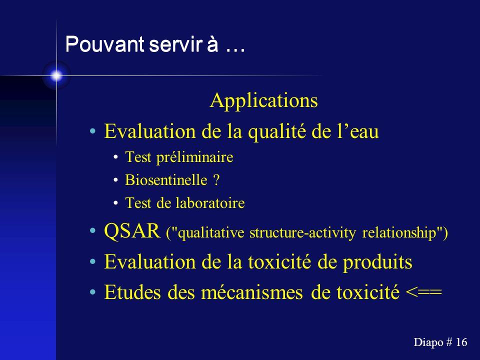 Diapo # 16 Pouvant servir à … Applications Evaluation de la qualité de leau Test préliminaire Biosentinelle ? Test de laboratoire QSAR (