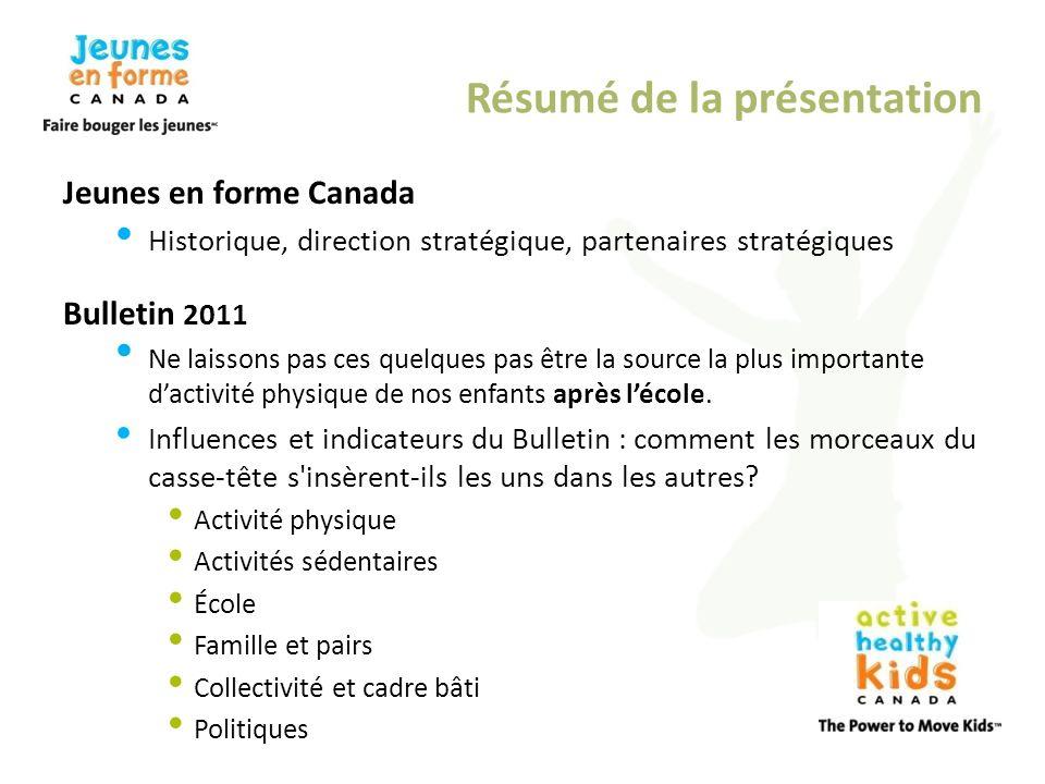 Résumé de la présentation Jeunes en forme Canada Historique, direction stratégique, partenaires stratégiques Bulletin 2011 Ne laissons pas ces quelque