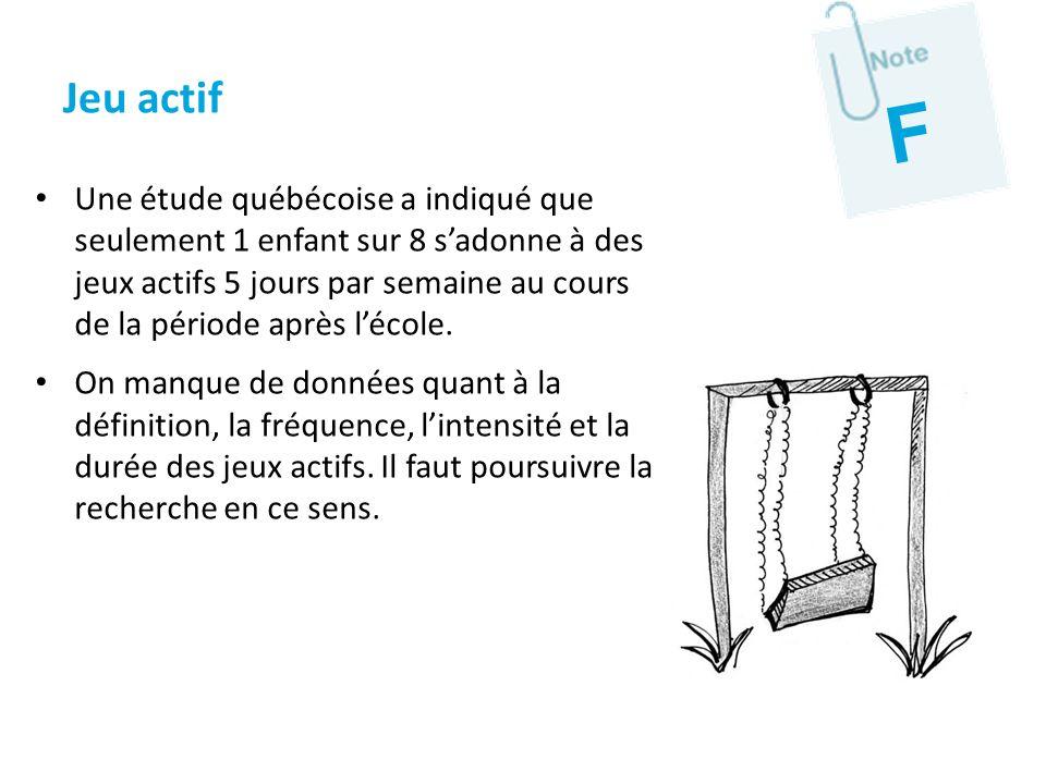 Une étude québécoise a indiqué que seulement 1 enfant sur 8 sadonne à des jeux actifs 5 jours par semaine au cours de la période après lécole. On manq