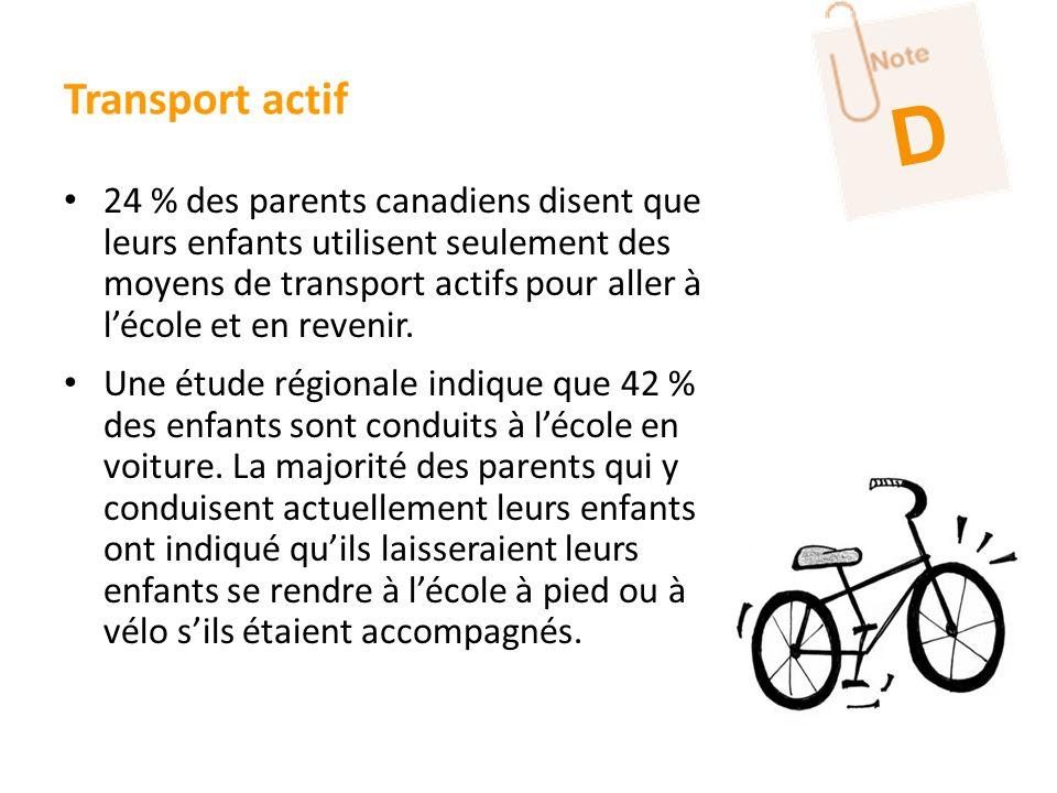 24 % des parents canadiens disent que leurs enfants utilisent seulement des moyens de transport actifs pour aller à lécole et en revenir. Une étude ré