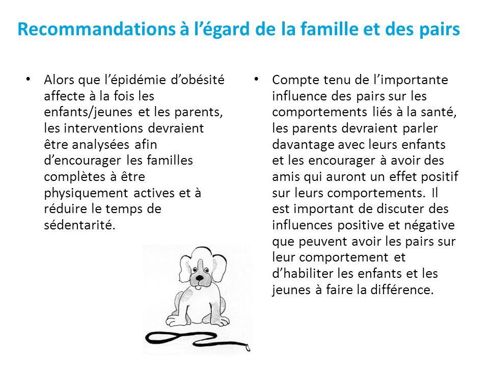 Alors que lépidémie dobésité affecte à la fois les enfants/jeunes et les parents, les interventions devraient être analysées afin dencourager les fami