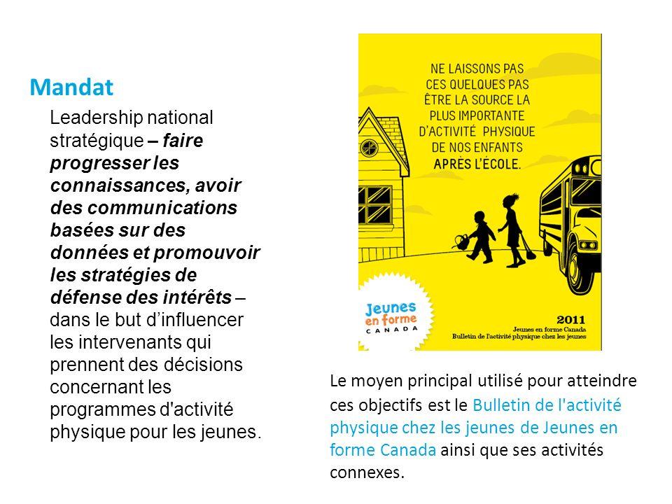 Le moyen principal utilisé pour atteindre ces objectifs est le Bulletin de l activité physique chez les jeunes de Jeunes en forme Canada ainsi que ses activités connexes.
