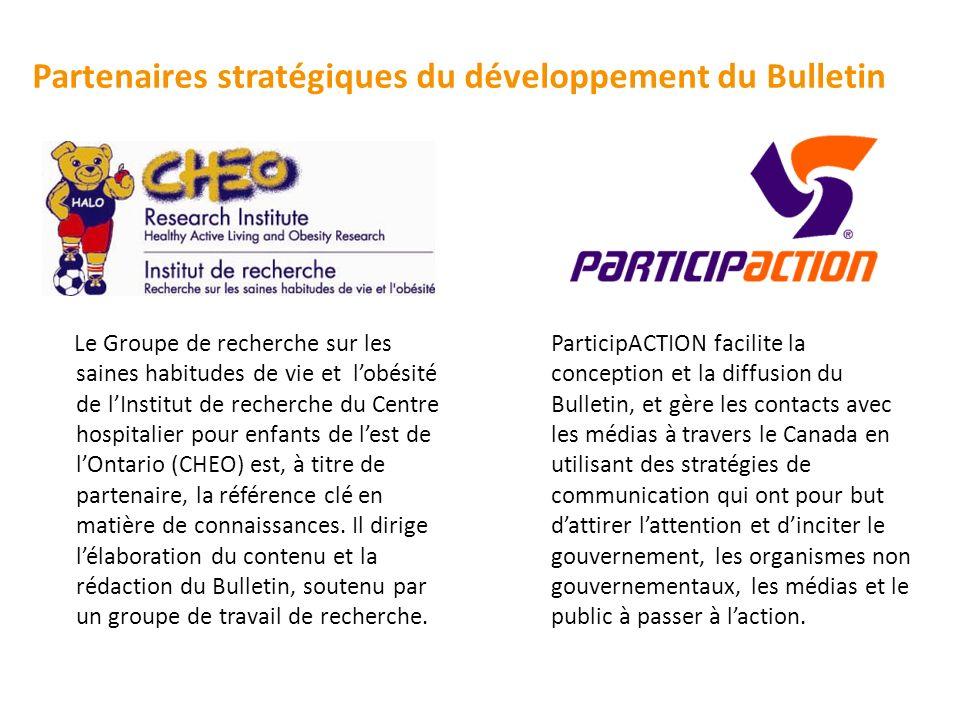 Partenaires stratégiques du développement du Bulletin ParticipACTION facilite la conception et la diffusion du Bulletin, et gère les contacts avec les