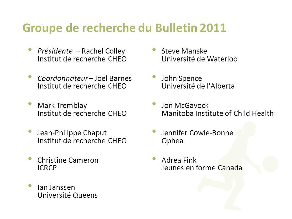 Groupe de recherche du Bulletin 2011 Présidente – Rachel Colley Institut de recherche CHEO Coordonnateur – Joel Barnes Institut de recherche CHEO Mark