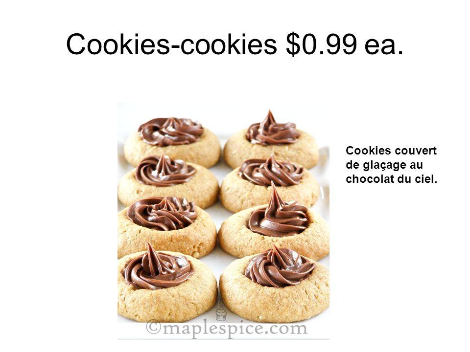Cookies-cookies $0.99 ea. Cookies couvert de glaçage au chocolat du ciel.
