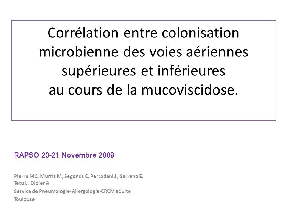 Corrélation entre colonisation microbienne des voies aériennes supérieures et inférieures au cours de la mucoviscidose. Pierre MC, Murris M, Segonds C