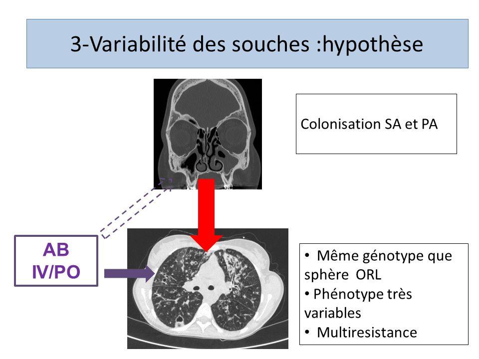 AB IV/PO Même génotype que sphère ORL Phénotype très variables Multiresistance 3-Variabilité des souches :hypothèse Colonisation SA et PA