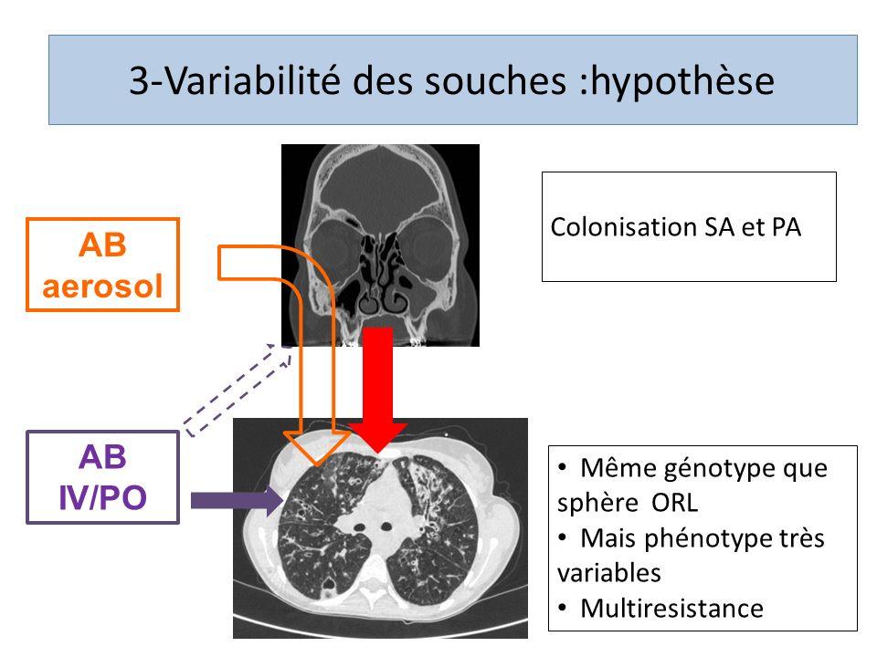 Même génotype que sphère ORL Mais phénotype très variables Multiresistance AB IV/PO AB aerosol 3-Variabilité des souches :hypothèse Colonisation SA et