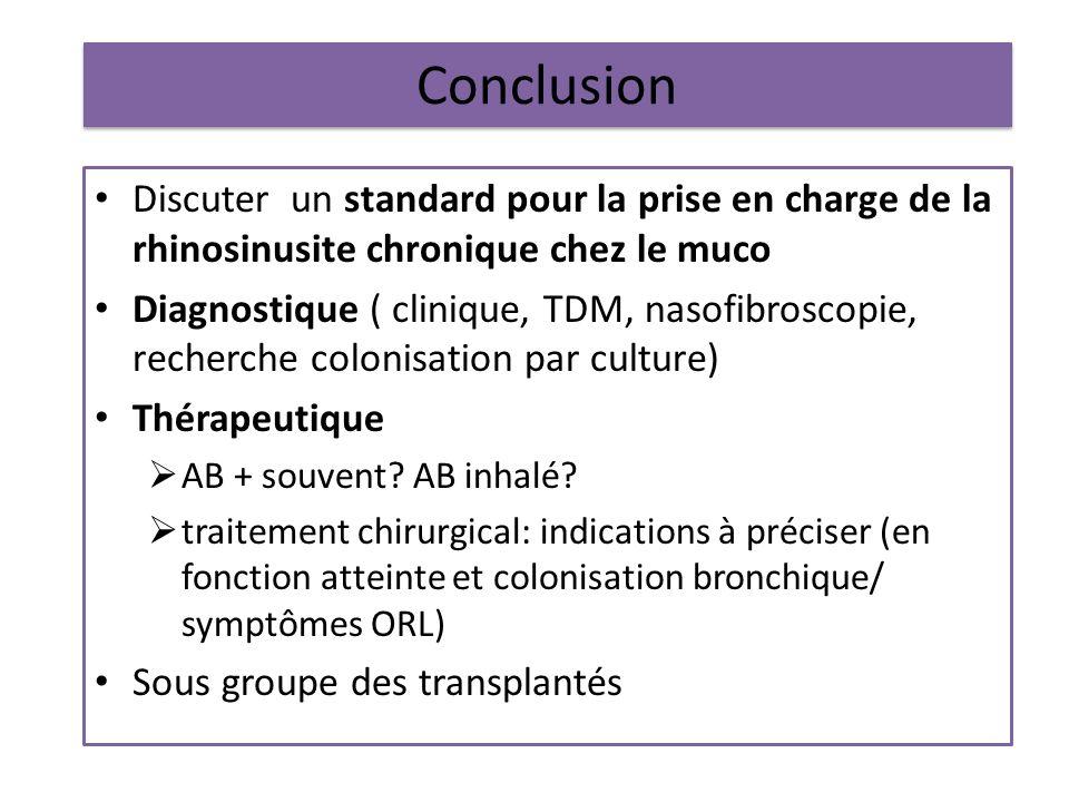 Conclusion Discuter un standard pour la prise en charge de la rhinosinusite chronique chez le muco Diagnostique ( clinique, TDM, nasofibroscopie, rech