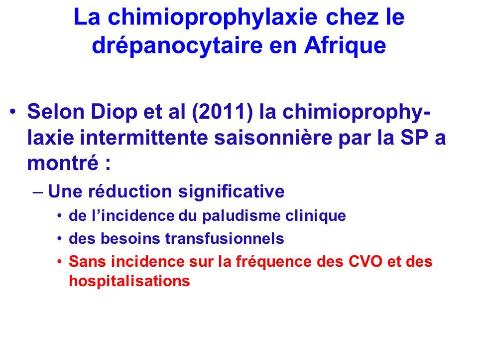 La chimioprophylaxie chez le drépanocytaire en Afrique Selon Diop et al (2011) la chimioprophy- laxie intermittente saisonnière par la SP a montré : –