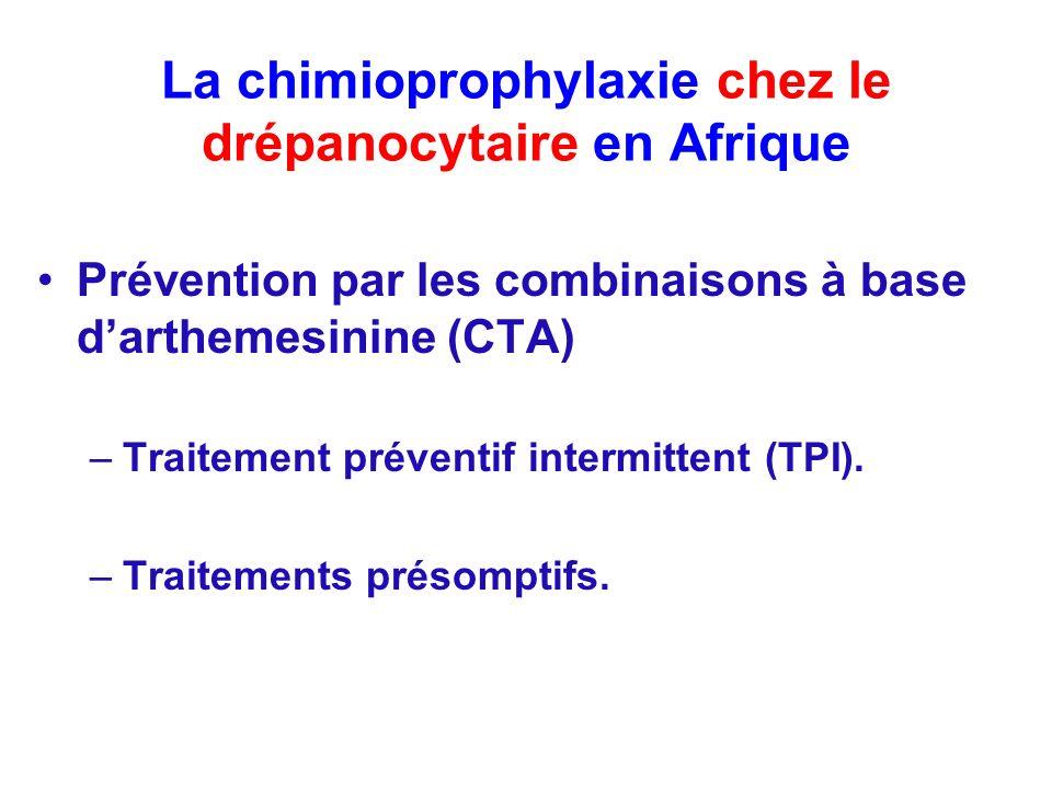 La chimioprophylaxie chez le drépanocytaire en Afrique Prévention par les combinaisons à base darthemesinine (CTA) –Traitement préventif intermittent