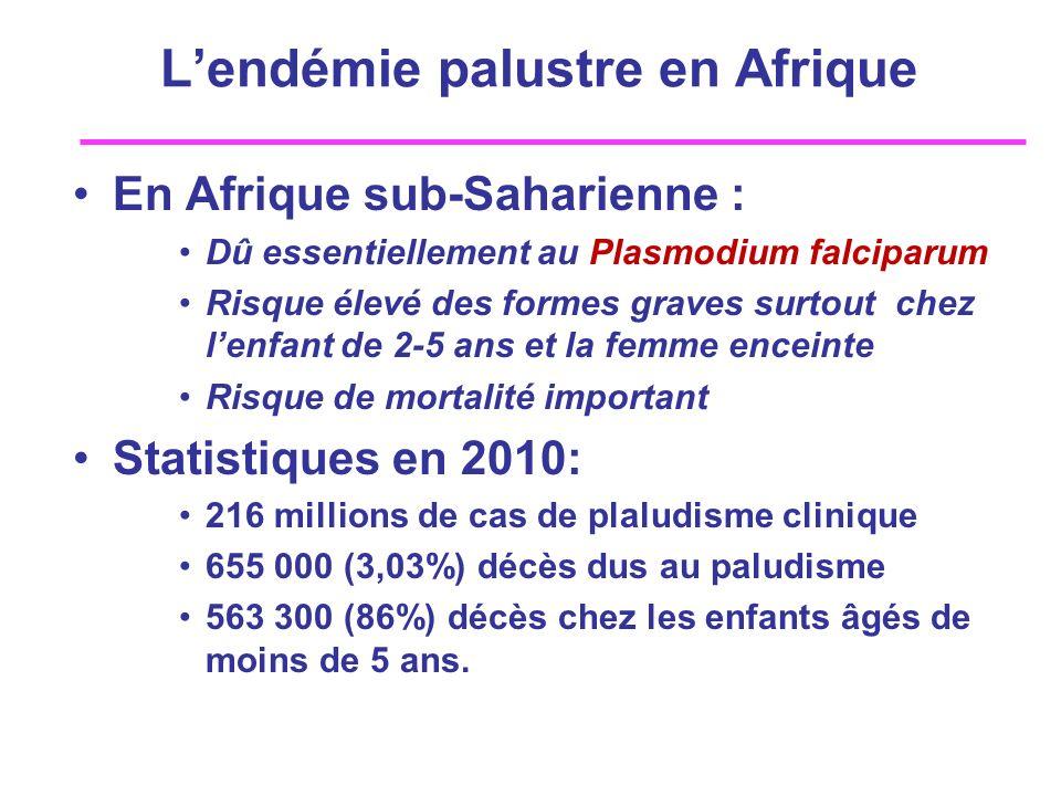 Lendémie palustre en Afrique En Afrique sub-Saharienne : Dû essentiellement au Plasmodium falciparum Risque élevé des formes graves surtout chez lenfa